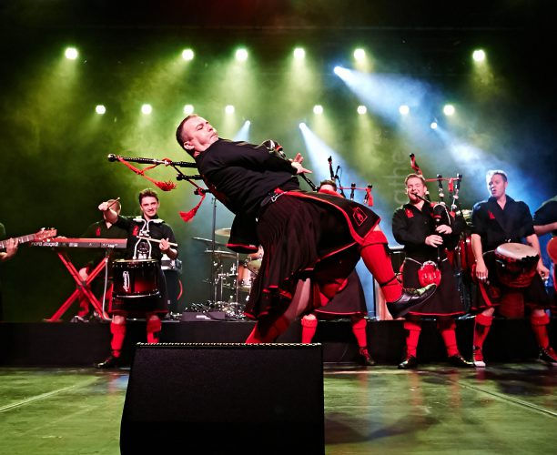 Red Hot Chilli Pipers, Bag Pipe Rock Band who performed at the Railway Children Steam Special, organised by Nimble Media