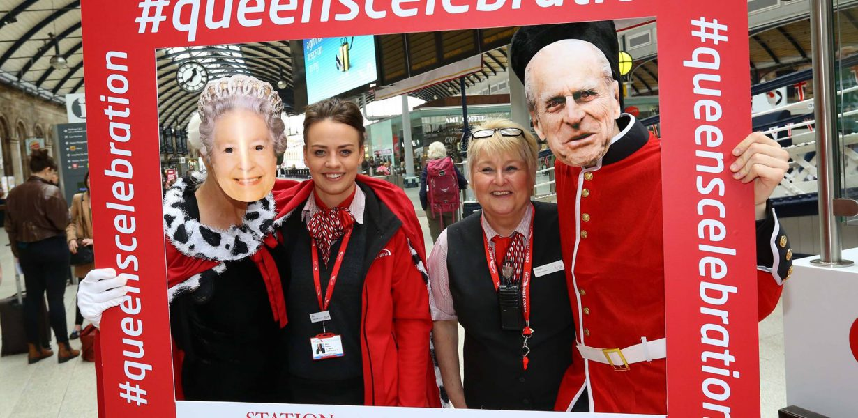 Selfie Frames with Virgin Trains as part of Station to Station Queens Celebration
